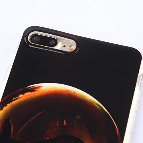 iPhone 7 Plus Hülle, iPhone 7 Plus Hülle, Gift_Source [ Muskel männlich ] Transparent Weiche Silikon Schutzhülle TPU Bumper Case Rückdeckel Hülle Tasche Mobile Phone Case für Apple iPhone 7 Plus E1-Schwarz und Gelb