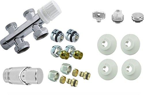 Heizkörper Ventil Garnitur Anschluss Komplett Set inkl. Thermostat Mittelanschluss 50mm für Paneel Badheizung, gerader Durchgang (Durchgangsausführung - wenn die Rohre aus dem Boden kommen) -