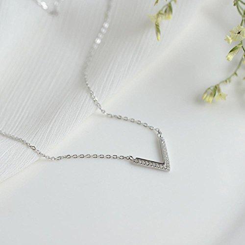 Aoligei S925 Sterling Silber Halskette V-Wort Halskette Mode Diamant Schlüsselbein Kurze Kette