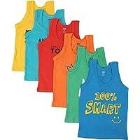 Careplus Sleeveless Printed Multi-Coloured Vest for Boy's (Pack of 6)