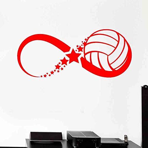 zqyjhkou Palla pallavolo Sport Gioco Infinity Adesivi murali Vinile Decorazioni per la casa per camerette Camera da Letto Decalcomanie Rimovibili murali Scuola 2 57x24cm
