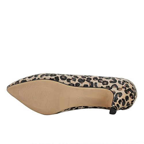 MERUMOTE Damen Spitze Middle Heels Pumps Leopard