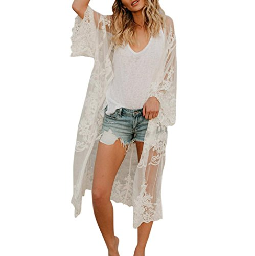 URSING_Damen Böhmischer Stil Spitze Kimono Beach Langer übergroßer Mantel Maxikleid Bademode Strandkleider Strandponcho Urlaub Bikini Kleid Cover-up offene Front Outfits Beachwear (Weiß) -