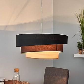 LED Pendelleuchte Hängeleuchte Hängelampe Modern Rund 3 Flammig E27 Design  Stofflampe Esszimmerlampe Wohnzimmerlampe Esstischlampe Beleuchtung Leuchte  Stoff ...