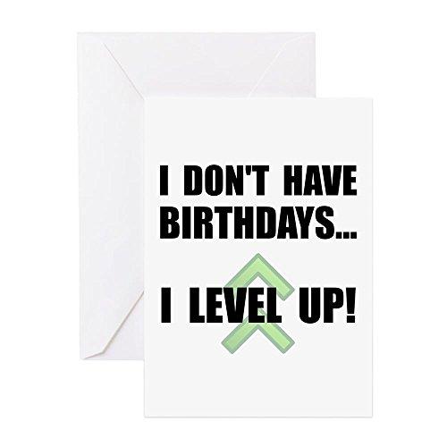 CafePress–Level Up Geburtstag–Grußkarte, Note Karte, Geburtstagskarte, innen blanko, matt