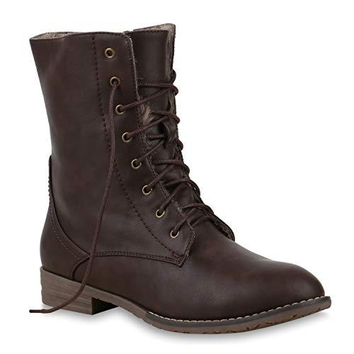 Warm Gefütterte Damen Stiefeletten Worker Boots Kunstfell Schuhe 125876 Braun Brooklyn 39 Flandell