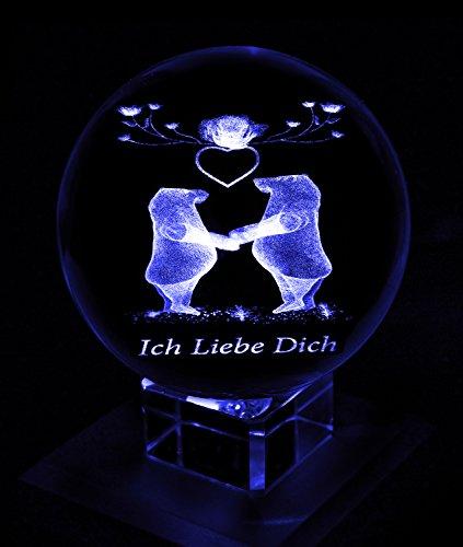 Kaltner Präsente––Un Regalo especial: LED Vela//3d bola de cristal de Laser de Grabado Enamorados oso. Ich liebe dich