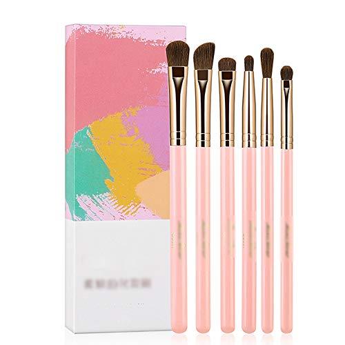 LJHA huazhuangshua Pinceau de maquillage, ensemble de pinceaux de fard à paupières, souple, prise en main modérée, avec 6 pinceaux de fard à paupières, pour maquillage, épilation, rose/noir,