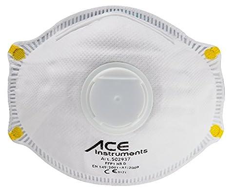 ACE 10x FFP1 Premium Atemschutzmaske mit Ventil EN149 | Staubschutzmaske für gewerbliche und private Anwendung | Schutzmaske gegen Staub und leichte Partikel | Staubmaske mit Ventil