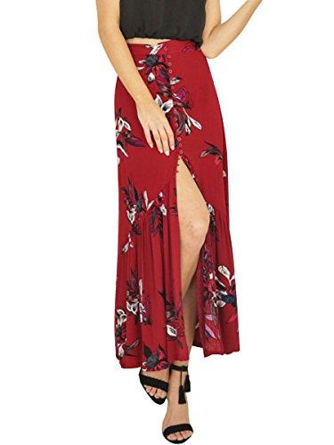 Simplee Apparel les boutons floraux boho taille haute devant trancher imprimés moutarde maxi - jupe beach Red 1