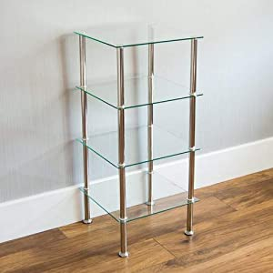 Home Discount® 4 Tier Glass Shelf Shelving Unit, Clear Modern Frame Furniture