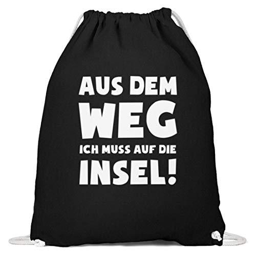 shirt-o-magic Meer: Muss auf die Insel! - Baumwoll Gymsac -37cm-46cm-Schwarz