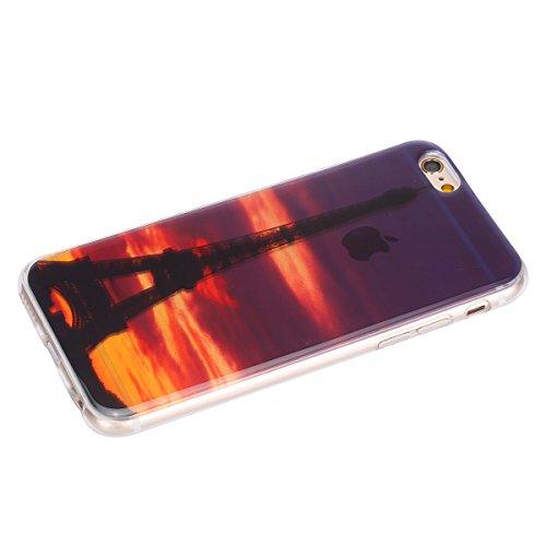 Felfy pour iPhone 6 Plus Silicone Case,iPhone 6S Plus Coque Coque Souple Transparente TPU Silicone en Gel Case Premium Ultra-Light Ultra-Mince Skin de Protection Pare-Chocs Anti-Choc Bumper pour Apple Tour Eiffel