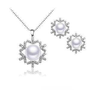 BiBeary Damen elegant 925 Sterling Silber Zirkonia Süßwasser Zuchtperle Schneeflocke Blume Weihnachten Schmuckset Schmuck Set