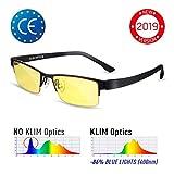 KLIMTM Optics Occhiali per Bloccare la Luce Blu - Alta Protezione per Schermi - Occhiali da Gaming PC Mobile TV - Occhiali per Gioco Anti Affaticamento degli Occhi Anti UV Anti Luce Blu