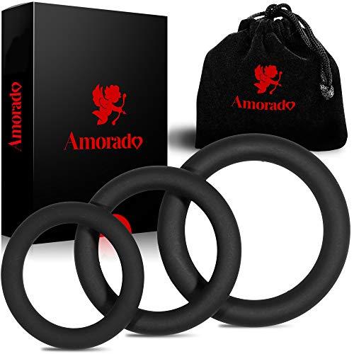 AMORADO Penisringe aus Silikon - Mega Sexspielzeug für Männer zur Potenzsteigerung - Cockring 3 er Set für eine längere und prallere Erektion - mit Samtbeutel (3 Größen)