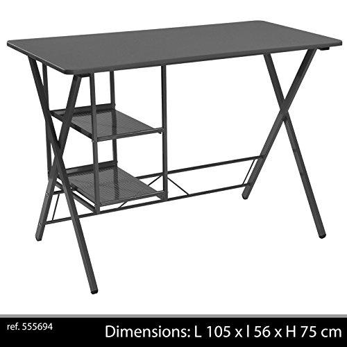 BUREAU METAL NOIR DESIGN 2 ETAGERES CASIER RANGEMENT NOIR TABLE