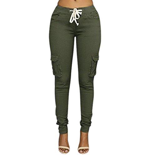 Minetom Femme Pantalons Jeans Taille Haute Slim Legging Cordon Cargo Militaire Casual Crayon Skinny Stretch Jambière Pantalons (FR 36/Tour de taille 66 cm, Vert)
