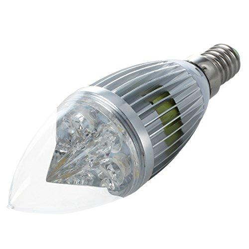 SODIAL(R) E14 4W LED bombilla de la vela de lampara ahorro de energia 8W luz blanco calido 110 - 240V con cascara de plata