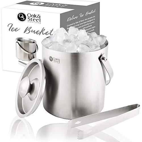 Premium Eiseimer, 2 Liter - Elegantes Silber Eiskübel - Doppelwandiger Isolierter Edelstahl - Eiswürfelbehälter mit Griff, Deckel & Zangen - Partys Bar-Zubehör Weihnachtsgeschenk
