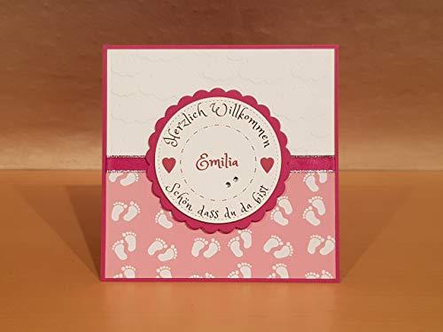Babykarte, Glückwunschkarte, Karte zur Geburt zum Baby, Mädchen, auch für Zwillinge, Name personalisierbar, Handarbeit (Hand-karten)