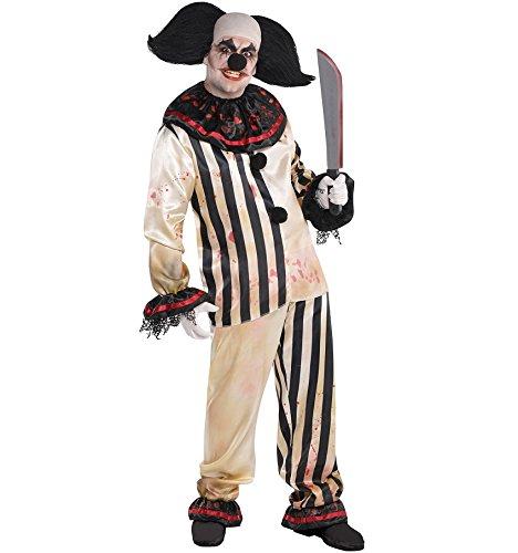 Herren Psycho Clown Kostüm Harlekin Evil Jester - schwarz weiß - Gr. M/L (Supergirl Kostüm Weiß)