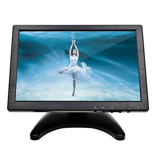 toguard 25,7cm IPS Bildschirm Farbe Ultra Dünn HD 1280* 800Video Monitor Display BNC/AV/HDMI/VGA/USB Video Eingang Kopfhörer Ausgang Bildschirm mit 175Grad Blickwinkel, integrierter Lautsprecher