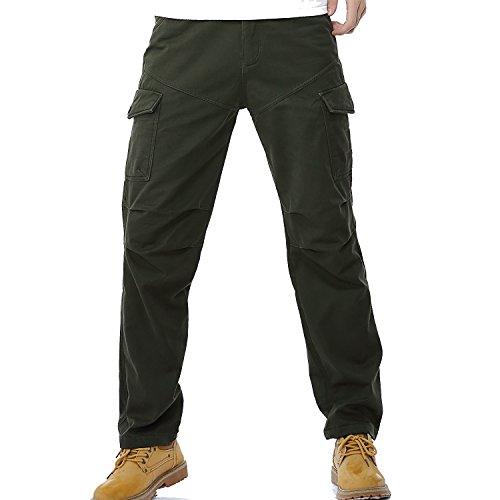 AYG Winter Velour Hose Warm Herren Cargo Pants(army green,34) (Grüne Velour Hose)