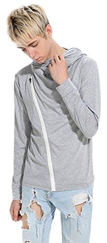 Whatlees Herren Urban Basic reguläre Passform lang arm Langes T-shirt mit Kapuzer aus weiches Jersey B765-LightGray