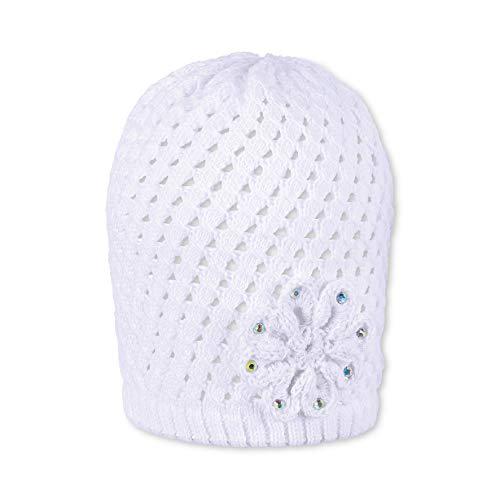 Sterntaler Strickmütze für Mädchen mit Glitzer-Blume, Alter: 12-18 Monate, Größe: 49, Weiß