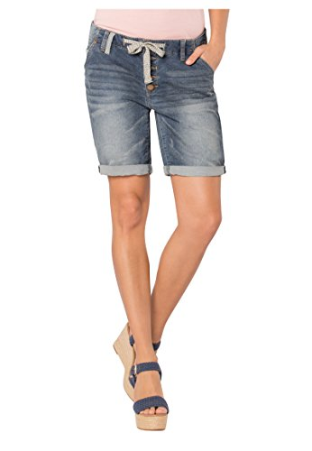 Eight2Nine Damen Boyfriend Bermuda Shorts in Denim-Optik Dark-Blue XXL - Sexy Stretch Kurze