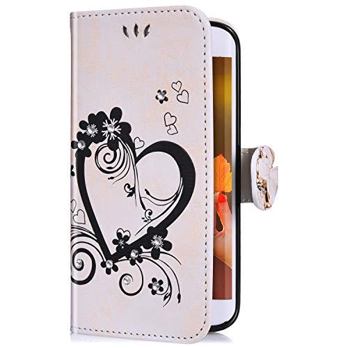 Uposao Kompatibel mit Samsung Galaxy J5 2016 Handyhülle Schmetterling Liebe Blumen Muster Diamant Bling Glitzer Strass Schutzhülle Flip Case Handytasche Wallet Hülle Bookstyle Klapphülle,Weiß