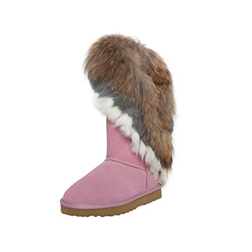 SKUTARI Damen Yeti Boots - Wildleder, Rosa, Echtfellbesatz, Gefüttert, Farbton:Rosa;Groesse:37