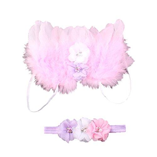 OULII Baby Fotografie Neugeborene Foto Props Outfit Baby Girl Engel Feder Flügel Kostüm mit Stirnband 13 Zoll (Kostüme Girl Best)