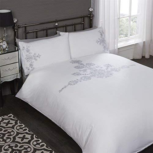 Bestickte Doppel-duvet-set (Blumen Bestickt Pailletten Weiß Baumwollmischung Doppelbett Bettwäsche)