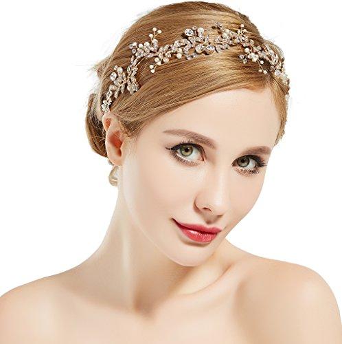 ArtiDeco Braut Haarband Blumen Perlen Satin Band Zweig Muster Vintage Braut Haarschmuck Braut Hochzeit Accessoires Stirnband (Gold)