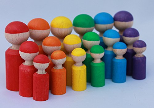 18 Holzfiguren Abstufungen Regenbogen Kind Großfamilie Abstufung Größen Farben lernen Montessori Waldorf Öko Figuren Holz Figuren Kreativ Regenbogenfarben Geschenk Freies Spiel