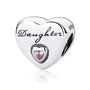 Charm-Armband Anhänger für Töchter, mit Zirkonia und 925erSterlingsilber, Charms für Pandora und andere europäische Armbänder