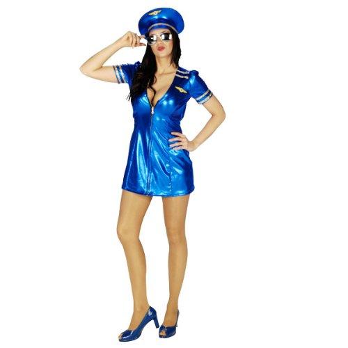 Preisvergleich Produktbild Pilotin Minikleid , Stewardess Kostüm mit Mütze, Captain, tiefer Ausschnitt - 40/42