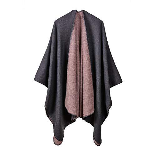QUROENS Strickjacke Poncho Cape: einfarbig Damen Elegant Strickjacke Schal Wickelpullover Für den Herbst Wintergrau