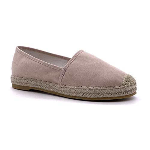 Angkorly - Damen Schuhe Espadrilles - Bequeme - Slip-On - Basic - Basic - mit Stroh Flache Ferse 2.5 cm - Rosa Nude LX178 T 36
