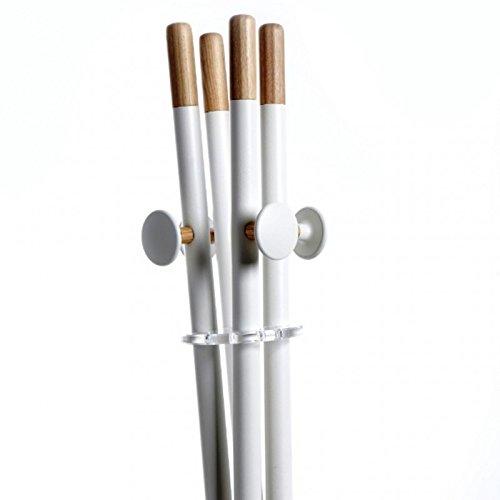 Emporium Mikado Appendiabiti in Metallo Verniciato a Polveri Epossidiche, Particolari in Legno Naturale, Bianco