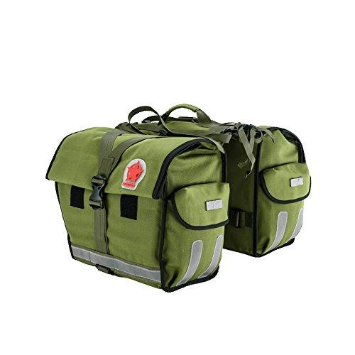 TOFERN Gepäckträgertasche Regenschutz Doppelpacktasche Mit Reflektorstreifen Satteltaschenc Fahrradtasche grün