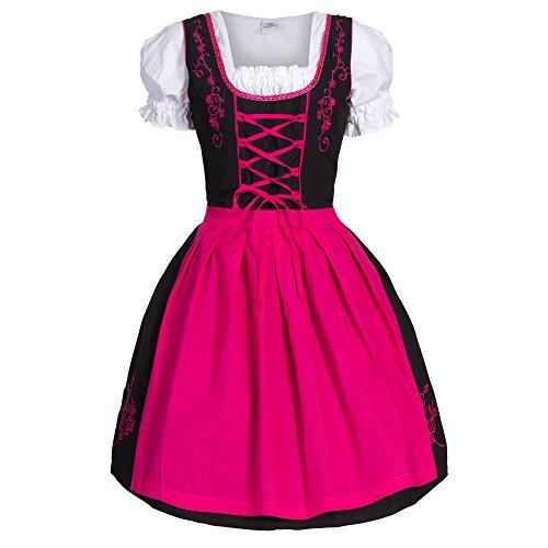 Dirndl 3 tlg.Trachtenkleid Kleid, Bluse, Schürze, Gr. 46 schwarz pink