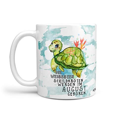Sunnywall® Kaffeebecher Monats-Tasse Geburtstags-Tasse Geschenk-Tasse schwarz inkl. gratis Geschenkkarte Die weisesten Schildkröten Werden im (August geboren)