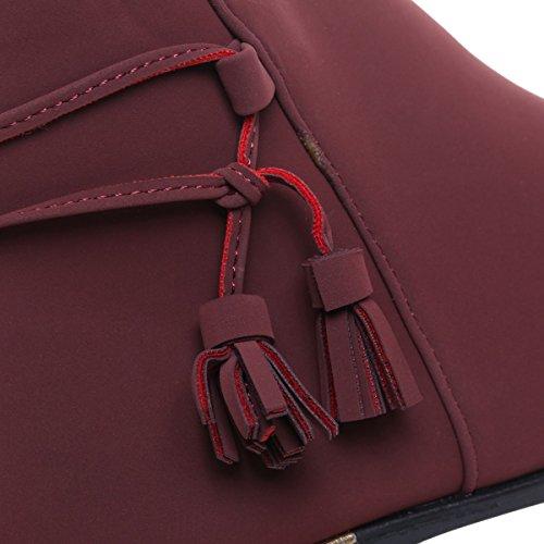 La Modeuse - Bottines plates aspect nubuck Rouge