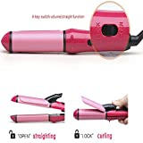 Vmoni 2-in-1 Hair Straightener and Curler with Ceramic Plate (Pink, 9884548)