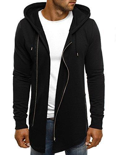 ozonee Felpa uomo felpa con cappuccio sweat maglione sportivi Pullover stile j. 2040 NERO_ath-0890
