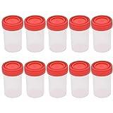 Hongma 10 Stück 60ml Urinbecher mit Deckel aus Kunststoff Specimen
