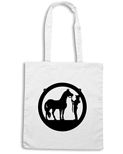 T-Shirtshock - Borsa Shopping FUN1076 cowgirl and horse2 36778 Bianco